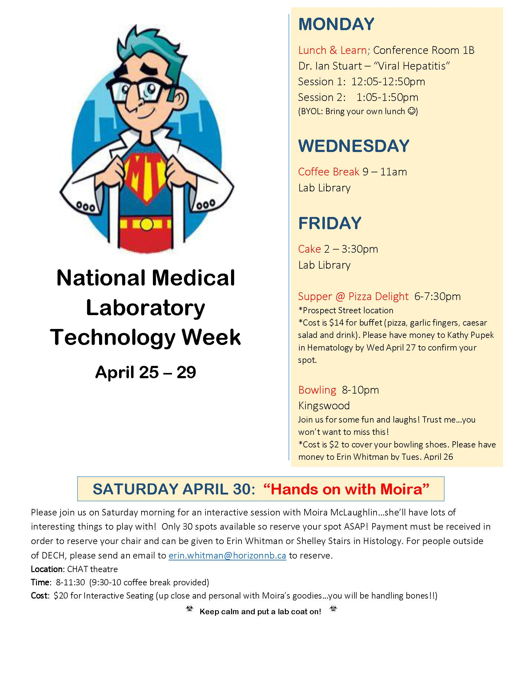 Calendar Lab April : New brunswick society of medical laboratory technologists